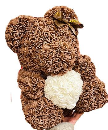 Flower Foam Bear - Brown with White Heart
