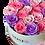Thumbnail: Weiße runde Blumenkiste - Mischen Sie Rosa / Lila