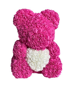 Flower Foam Bear - Hot Pink with white heart