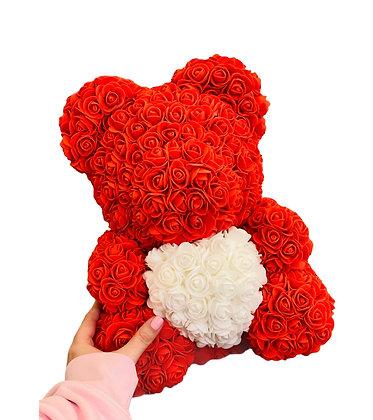 Flower Foam Bear - Red with White Heart