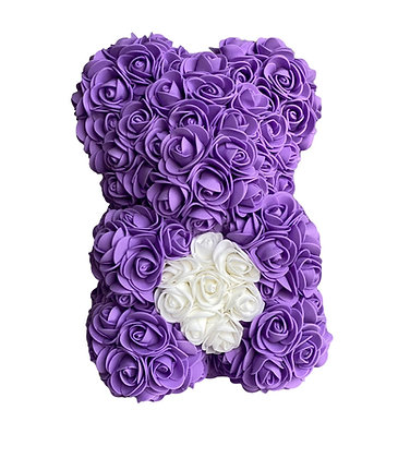 Small Flower Foam Bear - Purple with White Heart