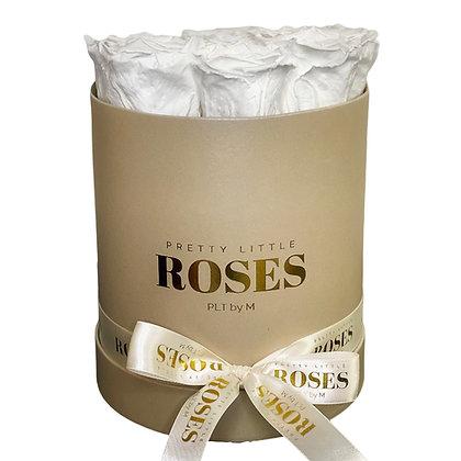 Mittlere hohe runde Schachtel - Beige - 9 Rosen Farbe der Wahl