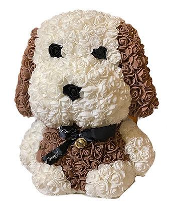 Floral Cute Dog 40cm - Weiß / Braun