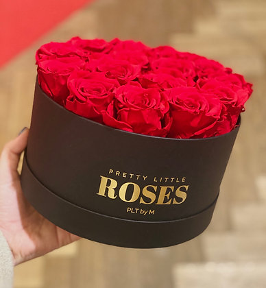 Round Black Flowerbox - Red Preserved roses