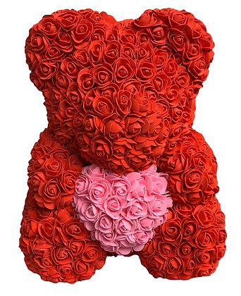 Flower Foam Bear - Red with Pink Heart
