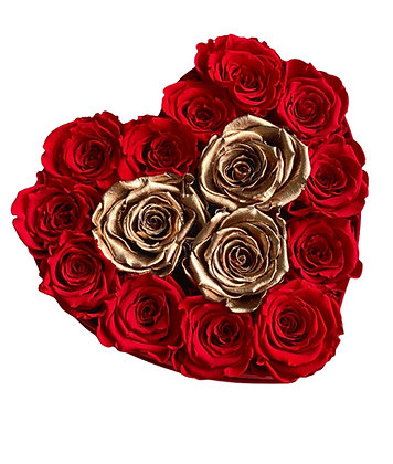 Herzförmige rote Box mit rot / goldenen Blumen