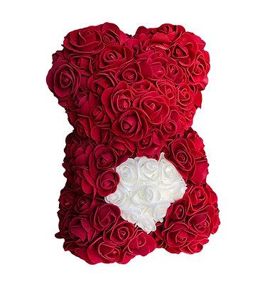 Small Flower Foam Bear - Dark red with White Heart