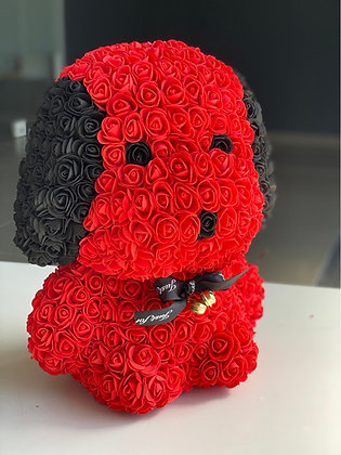 Floral Cute Dog 40cm - Red/Black