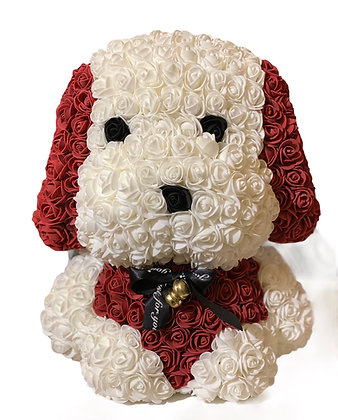 Floral Cute Dog 40cm - Weiß / Bordeau