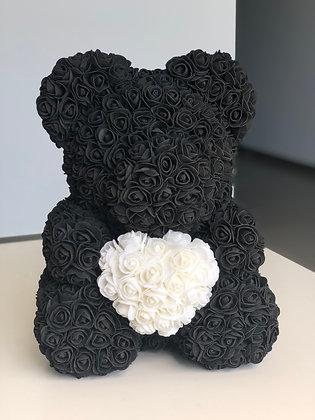 Flower Foam Bear - Black with White heart
