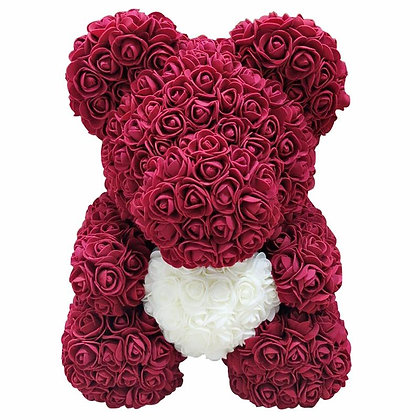 Floral Foam Bear - Dark Red with White Heart
