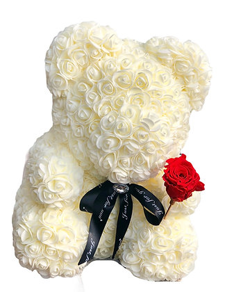Floral Foam Bear with Preserved Rose