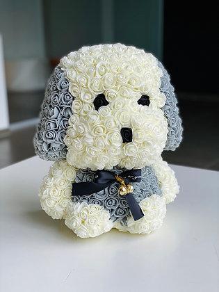 Floral Cute dog 40cm - White/Grey