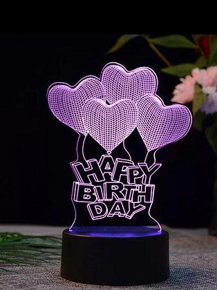 LED LAMP - Happy birthday Heart balloons