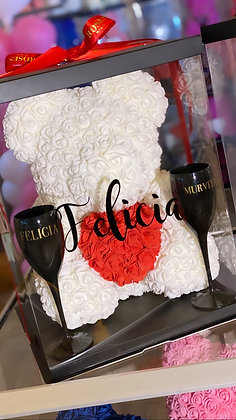 White Flower Bear with Red Heart + Glasses