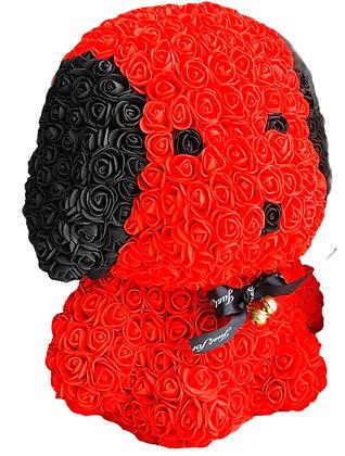 Floral Cute Dog 40cm - Red/Black