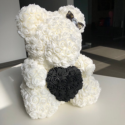 Flower Foam Bear - Pure White with Black Heart