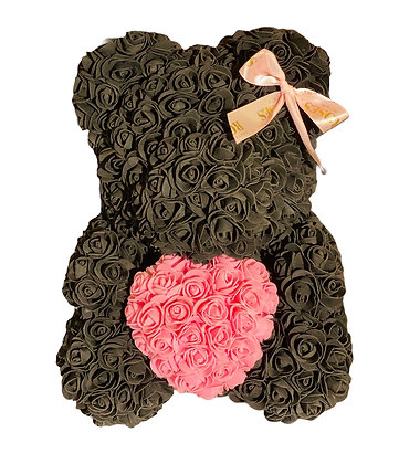 Flower Foam Bear- black with pink heart