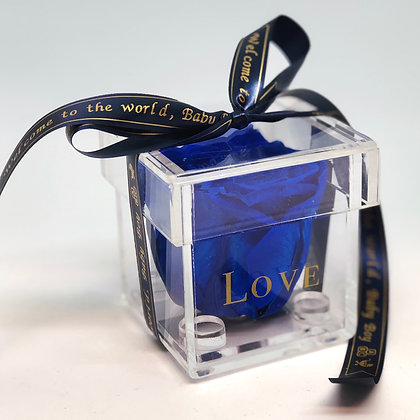 1 Acrylic Box - Dark Blue - Custom Ribbon