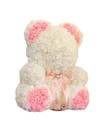 Flower Foam bear - White with Pink Ears and Feet