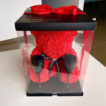 Red flower foam Bear + Glasses