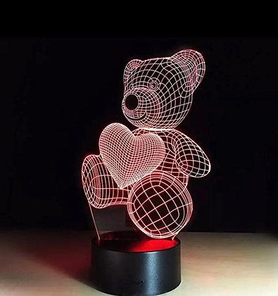 LED LAMP - Teddybear with Heart