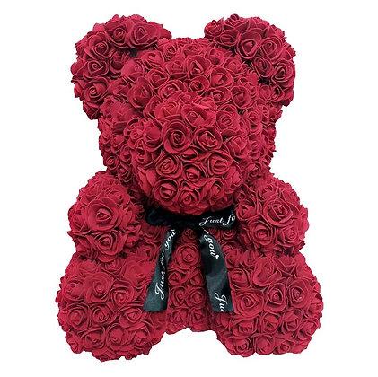 Flower Foam Bear - Dark Red