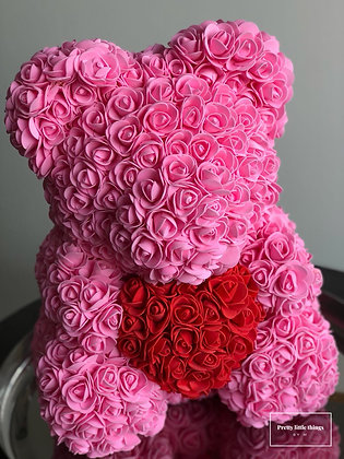 Floral foam bear - Pink with red heart
