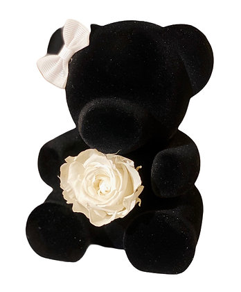 Small Black Bear with Preserved Rose
