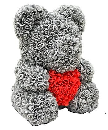 Flower Foam Bear - Grey with Red heart