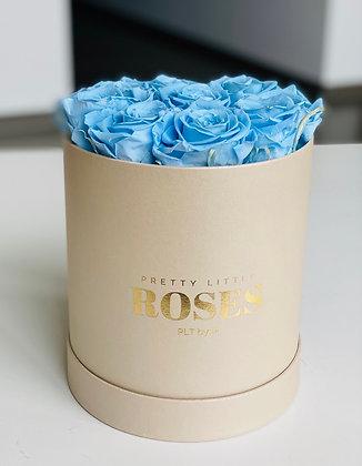 Medium High Round Box - Beige - 9 Roses Color of Choice