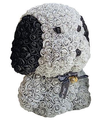 Floral Cute Dog 40cm - Grey/Black