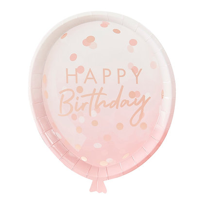ROSE GOLD BALLOON SHAPED PARTY PAPER PLATES