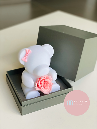 Small White Bear with Rose