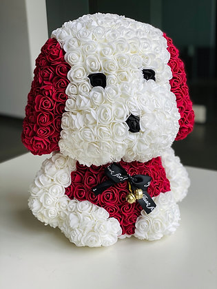 Floral Cute Dog 40cm - White/Bordeau