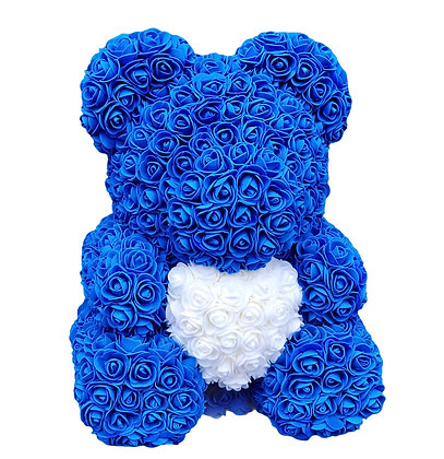 Flower Foam Bear - Dark blue with White Heart
