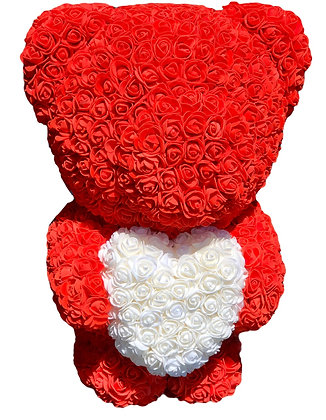 Standing Flower Foam Bear - 60cm - Red