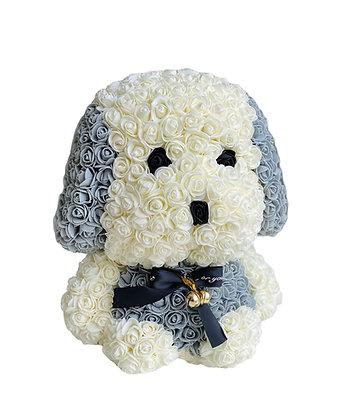Blumen Netter Hund 40cm - Weiß / Grau