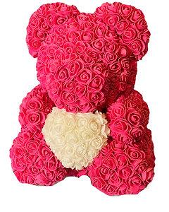 Ours en fleurs en mousse - Rose vif avec coeur blanc
