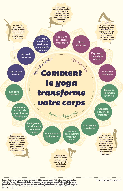 illustration résumant les différents effets observés sur la santé des yogis