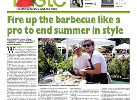 Talking BBQ tips and tricks with fellow chefs in the Brighton Argus newspaper