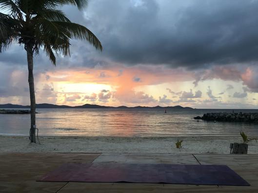 sunrise yoga at Nanny Cay Tortola