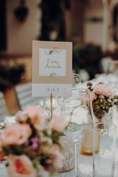 Eine originelle Idee ist es, statt Tischnummern den Tischen entsprechend den Gästen Namen zu geben: wer hier sitzt, ist eindeutig ;)