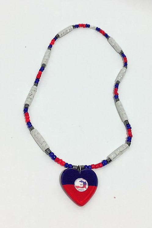 Haitian flag necklace