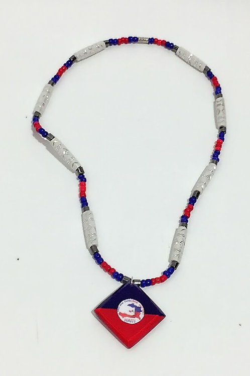 Haitian flag necklace