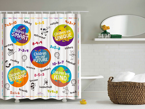 Children's Inspirational/Educational Shower Curtain 6-9yrs