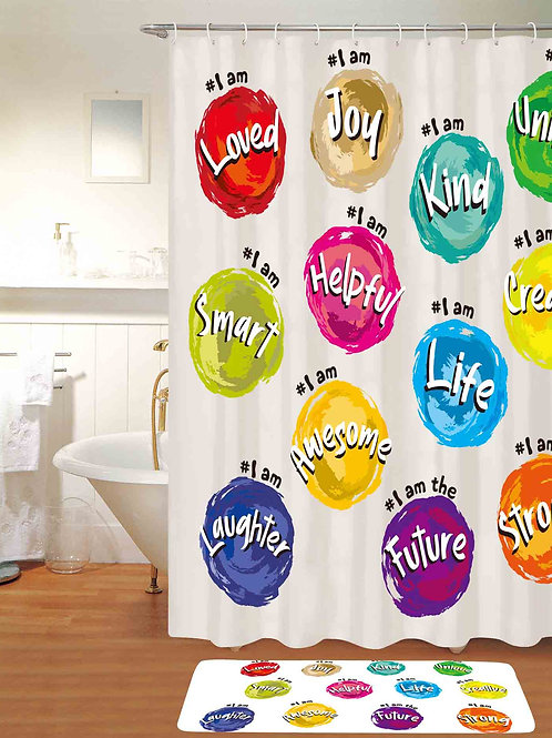 Hash-tag Inspirational Shower Curtain-3 colors