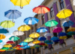 Umbrella Sky. Colorful umbrellas backgro