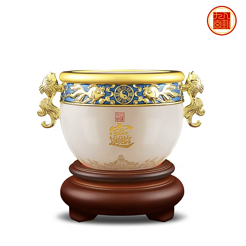 9 Wealth Treasure Bowl with Double Goldfish