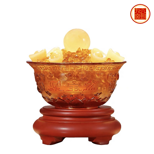 Liu Li Wealth Treasure Bowl with Gold Ingots